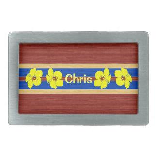 Yellow Hibiscus Fake Wood Surfboard Rectangular Belt Buckle