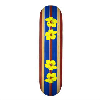 Yellow Hibiscus Fake Wood Surfboard Skate Board