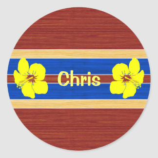 Yellow Hibiscus Fake Wood Surfboard Stickers