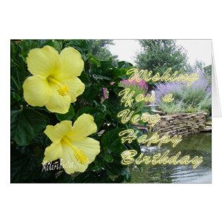 Yellow Hibiscus & fish pond Card