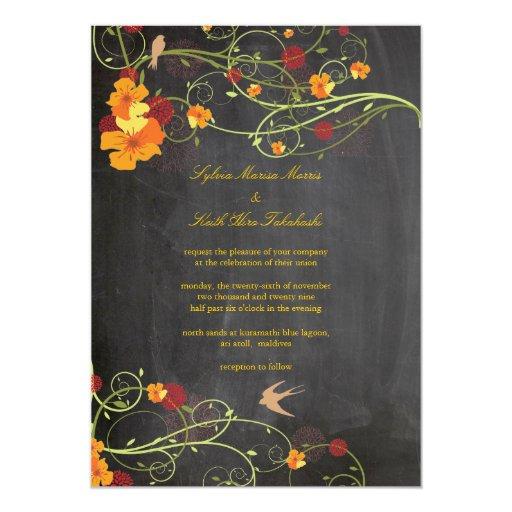 Yellow Hibiscus Floral Birds Chalkboard Wedding Card