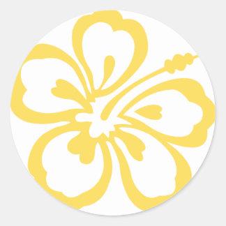 yellow hibiscus flower 12 classic round sticker