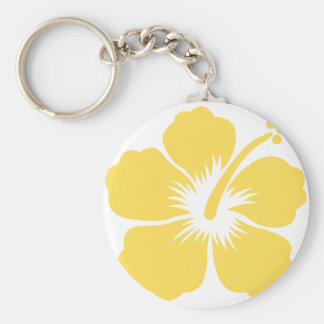 yellow hibiscus flower 18 keychain