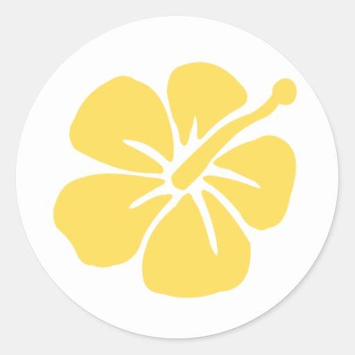 yellow hibiscus flower 1 classic round sticker