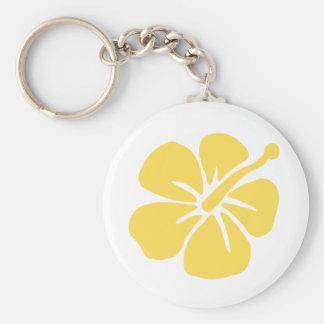 yellow hibiscus flower 1 keychain