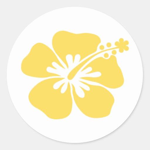 yellow hibiscus flower 22 classic round sticker