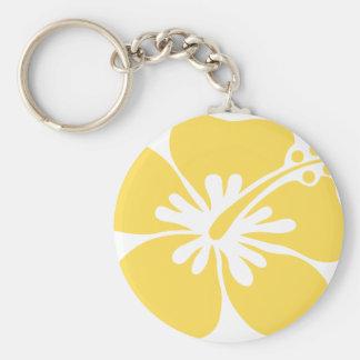yellow hibiscus flower 22 keychain