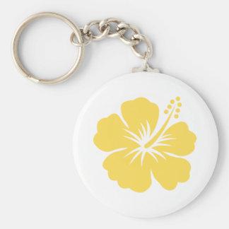yellow hibiscus flower 24 keychain
