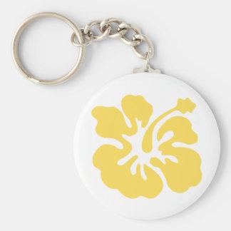 yellow hibiscus flower 2 keychain