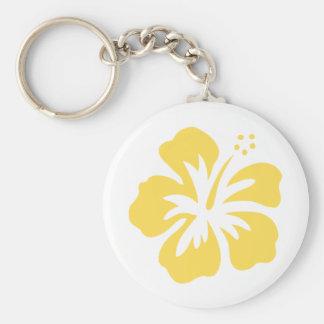 yellow hibiscus flower 5 keychain