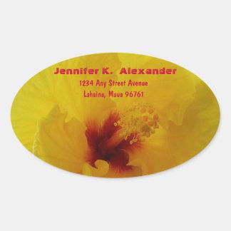 Yellow Hibiscus Flower Address LAbel Oval Sticker