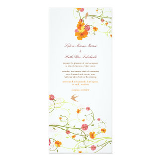 Yellow Hibiscus Flower Floral Birds Summer Wedding Card