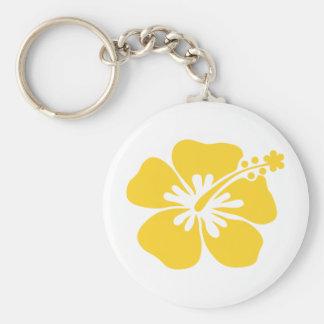 yellow hibiscus flower keychain