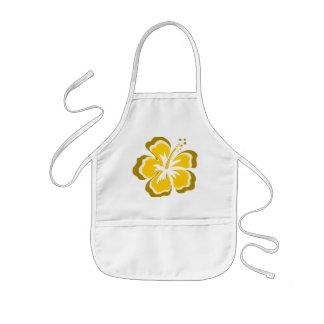 Yellow hibiscus flower kids' apron