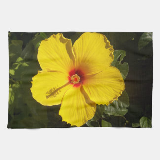 Yellow Hibiscus Flower Kitchen Towel