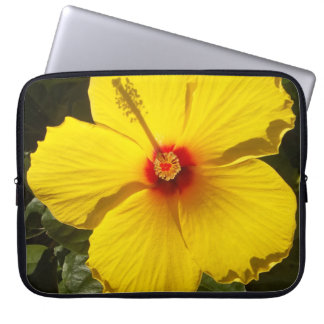Yellow Hibiscus Flower Laptop Sleeve