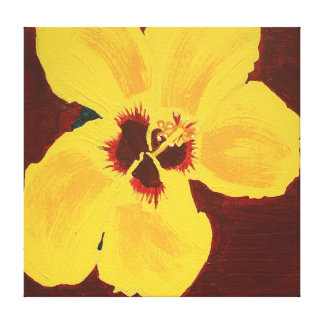 Yellow Hibiscus Flower Original Acrylic Painting Canvas Print