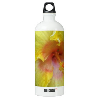 yellow hibiscus flower picture aluminum water bottle
