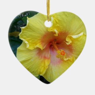 yellow hibiscus flower picture ceramic ornament