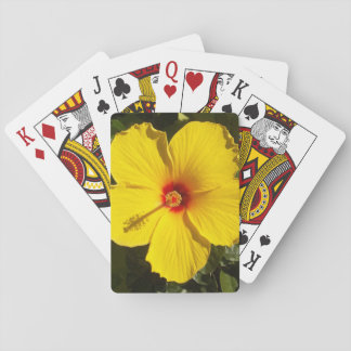 Yellow Hibiscus Flower Playing Cards
