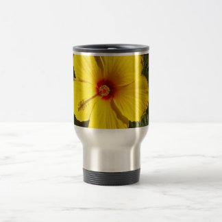 Yellow Hibiscus Flower Travel Mug