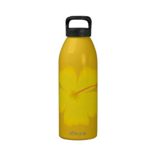 yellow_hibiscus_hawaii state yellow flower flower reusable water bottle