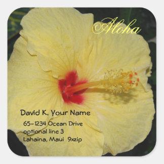 Yellow Hibiscus in Sunshine Square Sticker