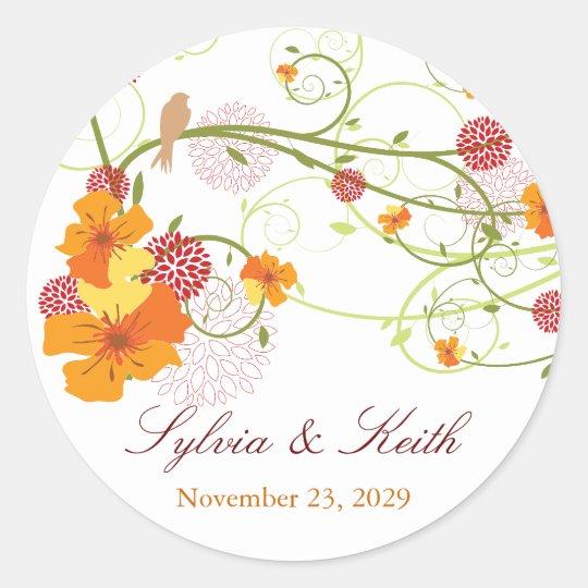 Yellow Hibiscus Love Birds Spring Wedding Sticker