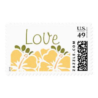Yellow Hibiscus Love Postage Wedding Stamps