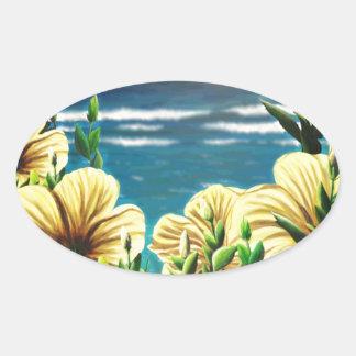 Yellow Hibiscus Overlooking the Ocean Oval Sticker