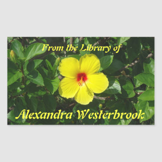 Yellow Hibiscus Personalized Bookplate Rectangular Sticker