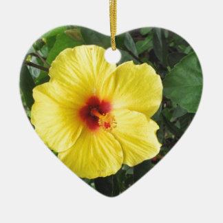 Yellow Hibiscus Plant Art Items Ceramic Ornament