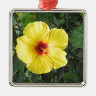 Yellow Hibiscus Plant Art Items Metal Ornament