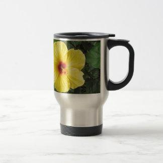 Yellow Hibiscus Plant Art Items Travel Mug