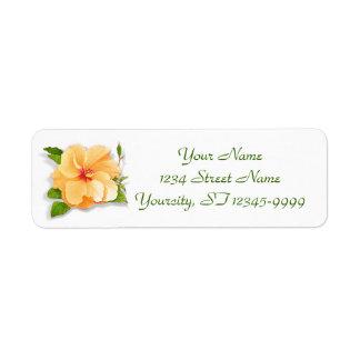 Yellow Hibiscus Return Address Labels