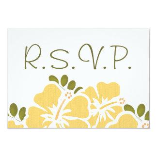 YELLOW HIBISCUS RSVP WEDDING RESPONSE CARDS CUSTOM INVITATIONS