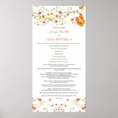 Yellow Hibiscus Swallows Wedding Program Poster by fat fa tin