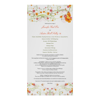 Yellow Hibiscus & Swallows Wedding Program Poster