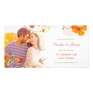 Yellow Hibiscus Swirls Birds Floral Save The Date Customized Photo Card