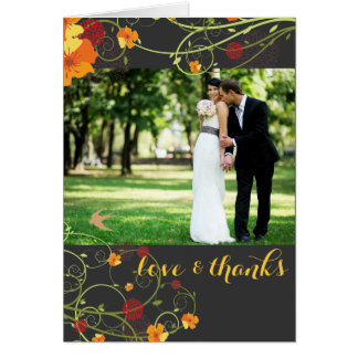 Yellow Hibiscus Swirls Photo Wedding Thank You Stationery Note Card