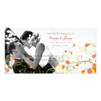 Yellow Hibiscus Swirls Spring Wedding Thank You Personalized Photo Card