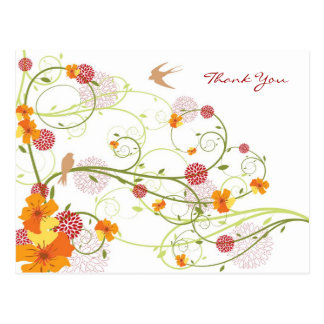 Yellow Hibiscus Swirls Spring Wedding Thank You Postcard
