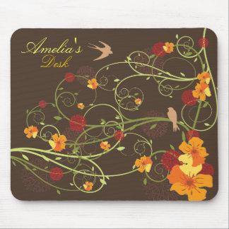 Yellow Hibiscus Swirls & Swallows Mousepad