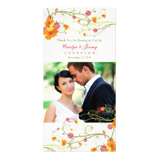 Yellow Hibiscus Swirls Swallows Wedding Thank You Card