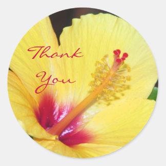 Yellow Hibiscus Thank You Classic Round Sticker