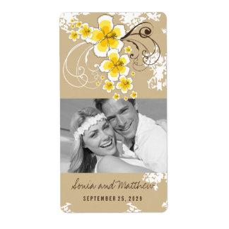 Yellow Hibiscus Tropical Beach Wedding Wine Labels