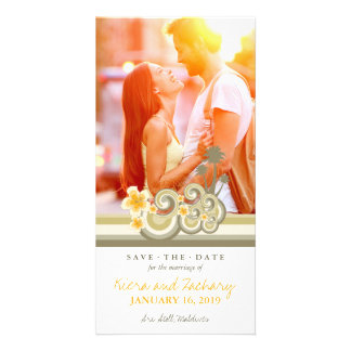 Yellow Hibiscus Tropical Waves Beach Save The Date Card