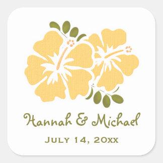 Yellow Hibiscus Wedding Favor Sticker Seal