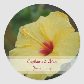 Yellow Hibiscus Wedding Stickers