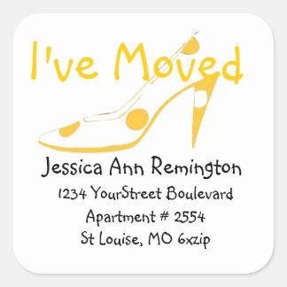 Yellow High Heel Shoe New Address Square Sticker